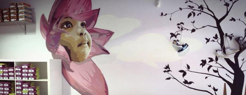 Murales de pared en interior_Tienda flor