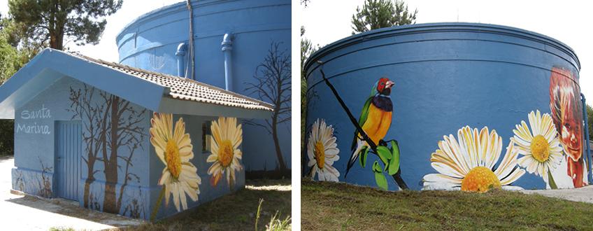 Muralismo en depositos de agua montaje